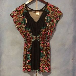 Women's Flower Pattern Blouse with Cinched Waist